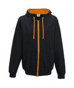 Sweat à capuche zippé contrasté, en coton et polyester