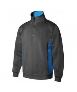 Sweat professionnel bicolore Col zip Poly/coton 260g